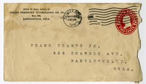 Primary view of object titled 'Envelope Addressed to Frank Frantz'.