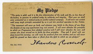 Primary view of object titled 'Pledge Card of Theodore Roosevelt'.