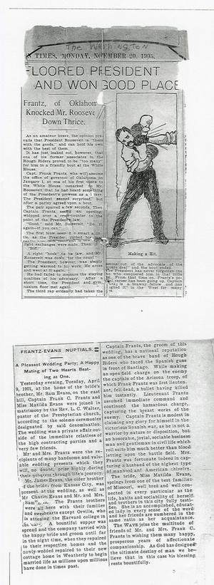 Primary view of object titled 'Two Newspaper Articles on Frank Frantz'.
