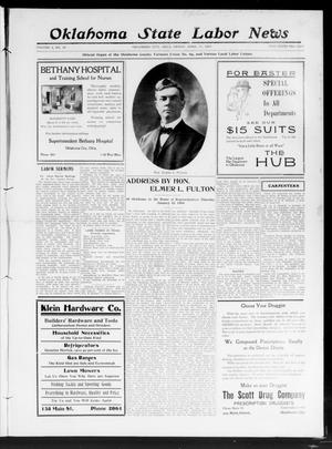 Primary view of object titled 'Oklahoma State Labor News (Oklahoma City, Okla.), Vol. 2, No. 49, Ed. 1 Friday, April 17, 1908'.