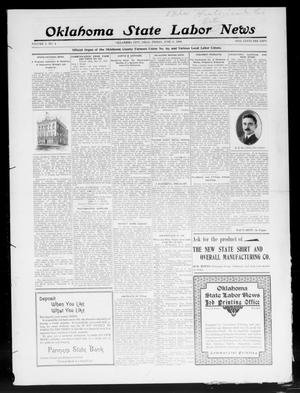 Primary view of object titled 'Oklahoma State Labor News (Oklahoma City, Okla.), Vol. 3, No. 4, Ed. 1 Friday, June 5, 1908'.