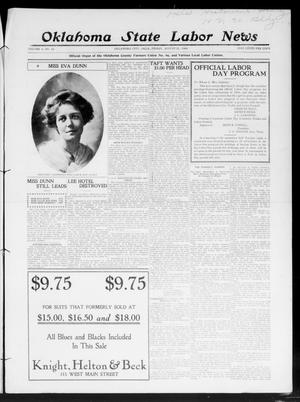 Primary view of object titled 'Oklahoma State Labor News (Oklahoma City, Okla.), Vol. 3, No. 14, Ed. 1 Friday, August 21, 1908'.