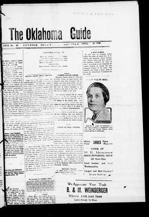 Primary view of object titled 'The Oklahoma Guide (Guthrie, Okla.), Vol. 29, No. 40, Ed. 1 Thursday, April 29, 1920'.