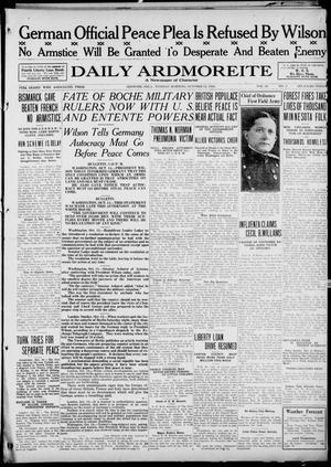 Primary view of Daily Ardmoreite (Ardmore, Okla.), Vol. 26, No. 5, Ed. 1 Tuesday, October 15, 1918