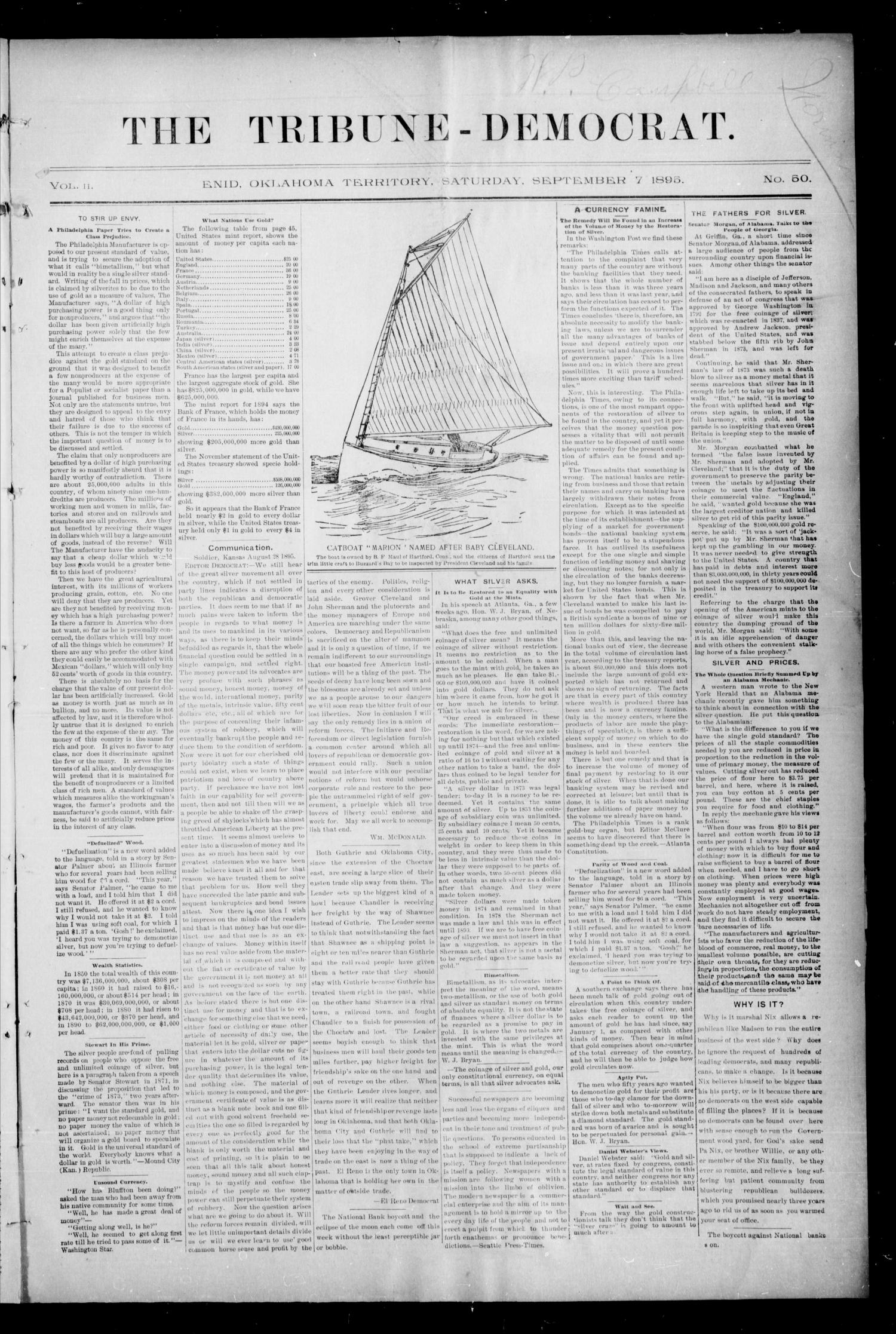 The Tribune-Democrat. (Enid, Okla. Terr.), Vol. 2, No. 50, Ed. 1 Saturday, September 7, 1895                                                                                                      [Sequence #]: 1 of 9