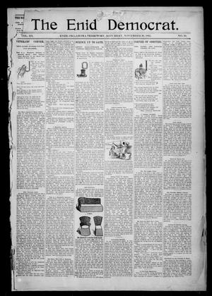 Primary view of object titled 'The Enid Democrat. (Enid, Okla. Terr.), Vol. 3, No. 10, Ed. 1 Saturday, November 30, 1895'.