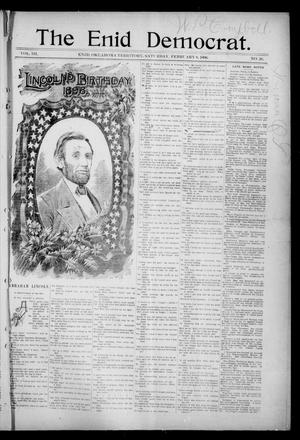Primary view of object titled 'The Enid Democrat. (Enid, Okla. Terr.), Vol. 3, No. 26, Ed. 1 Saturday, February 8, 1896'.