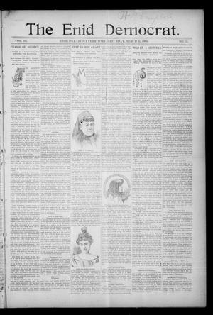 Primary view of object titled 'The Enid Democrat. (Enid, Okla. Terr.), Vol. 3, No. 32, Ed. 1 Saturday, March 21, 1896'.