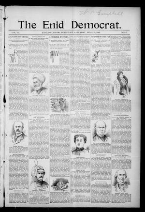 Primary view of object titled 'The Enid Democrat. (Enid, Okla. Terr.), Vol. 3, No. 37, Ed. 1 Saturday, April 25, 1896'.