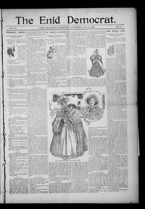 Primary view of object titled 'The Enid Democrat. (Enid, Okla. Terr.), Vol. 3, No. 49, Ed. 1 Saturday, August 15, 1896'.