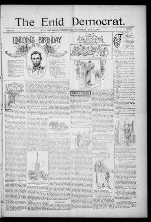 Primary view of object titled 'The Enid Democrat. (Enid, Okla. Terr.), Vol. 3, No. 74, Ed. 1 Saturday, February 13, 1897'.