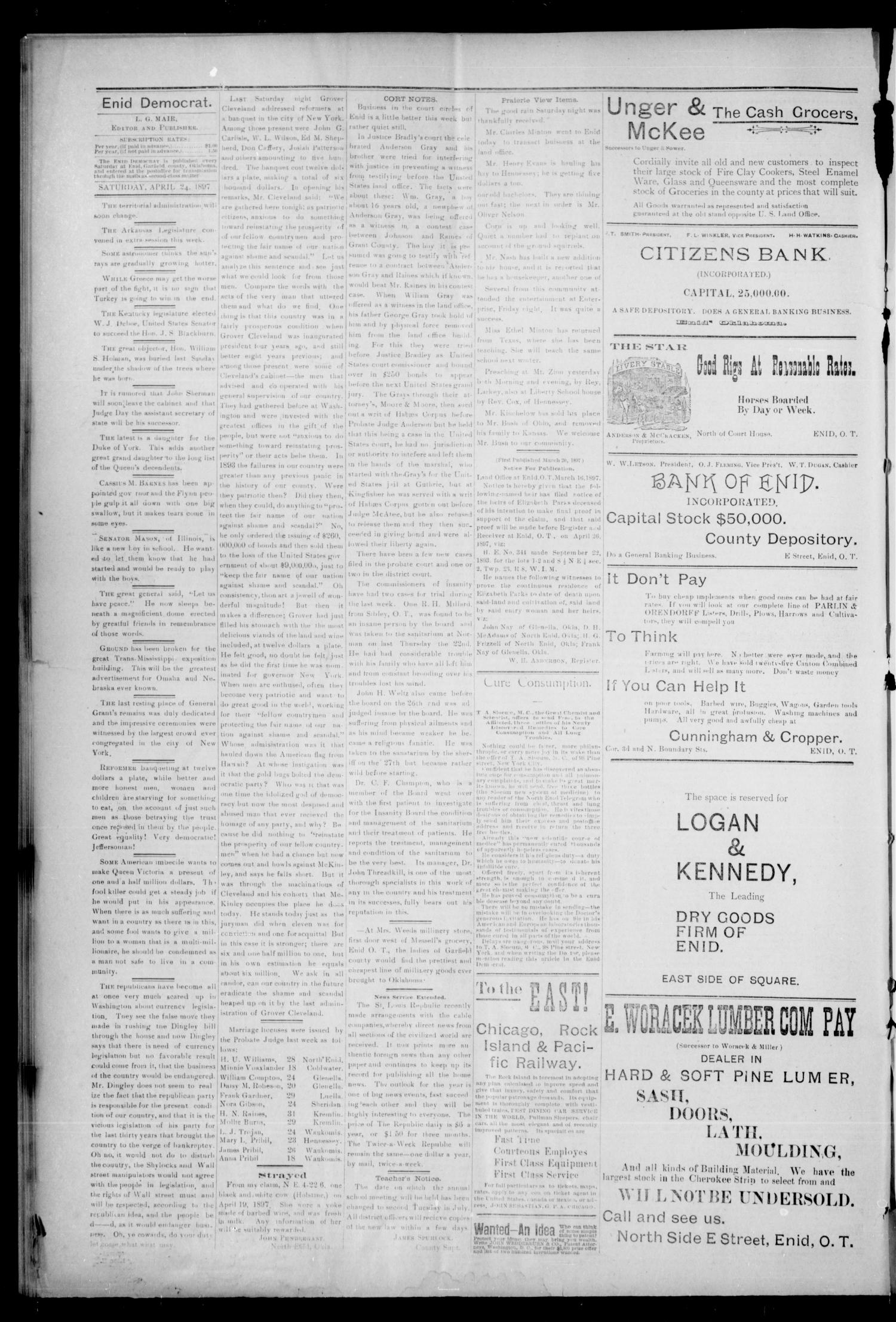 The Enid Democrat. (Enid, Okla. Terr.), Vol. 3, No. 84, Ed. 1 Saturday, May 1, 1897                                                                                                      [Sequence #]: 4 of 8