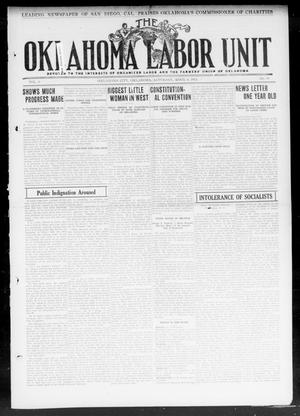 Primary view of object titled 'The Oklahoma Labor Unit (Oklahoma City, Okla.), Vol. 4, No. 44, Ed. 1 Saturday, April 6, 1912'.