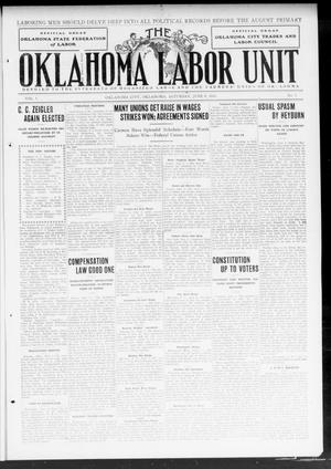 Primary view of object titled 'The Oklahoma Labor Unit (Oklahoma City, Okla.), Vol. 5, No. 1, Ed. 1 Saturday, June 8, 1912'.