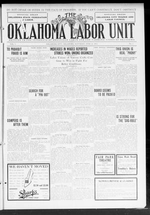 Primary view of object titled 'The Oklahoma Labor Unit (Oklahoma City, Okla.), Vol. 5, No. 3, Ed. 1 Saturday, June 22, 1912'.