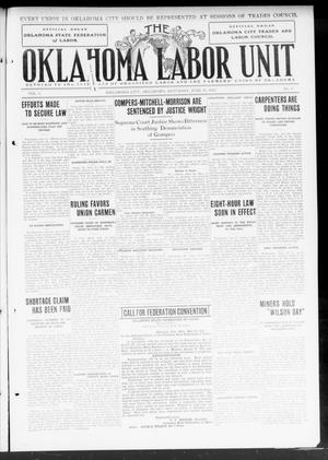Primary view of object titled 'The Oklahoma Labor Unit (Oklahoma City, Okla.), Vol. 5, No. 4, Ed. 1 Saturday, June 29, 1912'.
