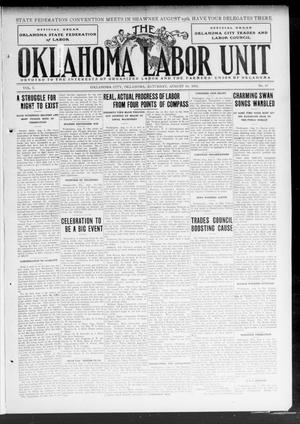 Primary view of object titled 'The Oklahoma Labor Unit (Oklahoma City, Okla.), Vol. 5, No. 10, Ed. 1 Saturday, August 10, 1912'.