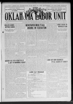 Primary view of object titled 'The Oklahoma Labor Unit (Oklahoma City, Okla.), Vol. 5, No. 13, Ed. 1 Saturday, August 31, 1912'.