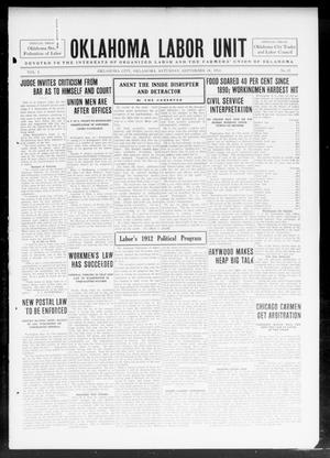 Primary view of object titled 'The Oklahoma Labor Unit (Oklahoma City, Okla.), Vol. 5, No. 15, Ed. 1 Saturday, September 28, 1912'.