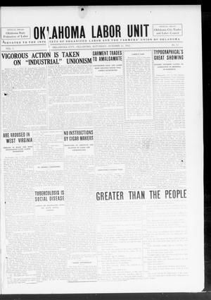 Primary view of object titled 'The Oklahoma Labor Unit (Oklahoma City, Okla.), Vol. 5, No. 17, Ed. 1 Saturday, October 12, 1912'.