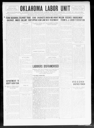 Primary view of object titled 'The Oklahoma Labor Unit (Oklahoma City, Okla.), Vol. 5, No. 20, Ed. 1 Saturday, November 2, 1912'.