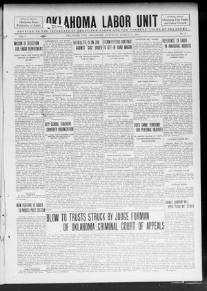Primary view of object titled 'Oklahoma Labor Unit (Oklahoma City, Okla.), Vol. 5, No. 39, Ed. 1 Saturday, March 15, 1913'.