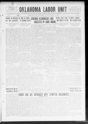 Primary view of object titled 'Oklahoma Labor Unit (Oklahoma City, Okla.), Vol. 5, No. 45, Ed. 1 Saturday, April 26, 1913'.