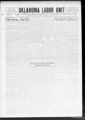 Primary view of object titled 'Oklahoma Labor Unit (Oklahoma City, Okla.), Vol. 6, No. 9, Ed. 1 Saturday, August 16, 1913'.