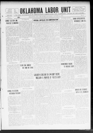 Primary view of object titled 'Oklahoma Labor Unit (Oklahoma City, Okla.), Vol. 6, No. 17, Ed. 1 Saturday, October 11, 1913'.