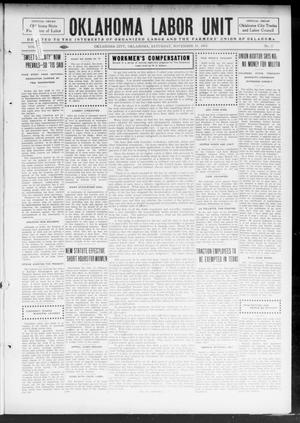 Primary view of object titled 'Oklahoma Labor Unit (Oklahoma City, Okla.), Vol. 6, No. 22, Ed. 1 Saturday, November 15, 1913'.