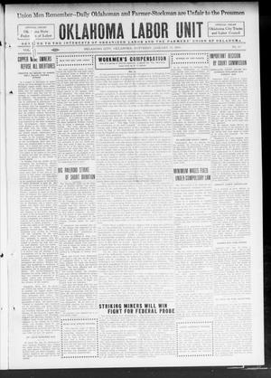 Primary view of object titled 'Oklahoma Labor Unit (Oklahoma City, Okla.), Vol. 6, No. 32, Ed. 1 Saturday, January 24, 1914'.