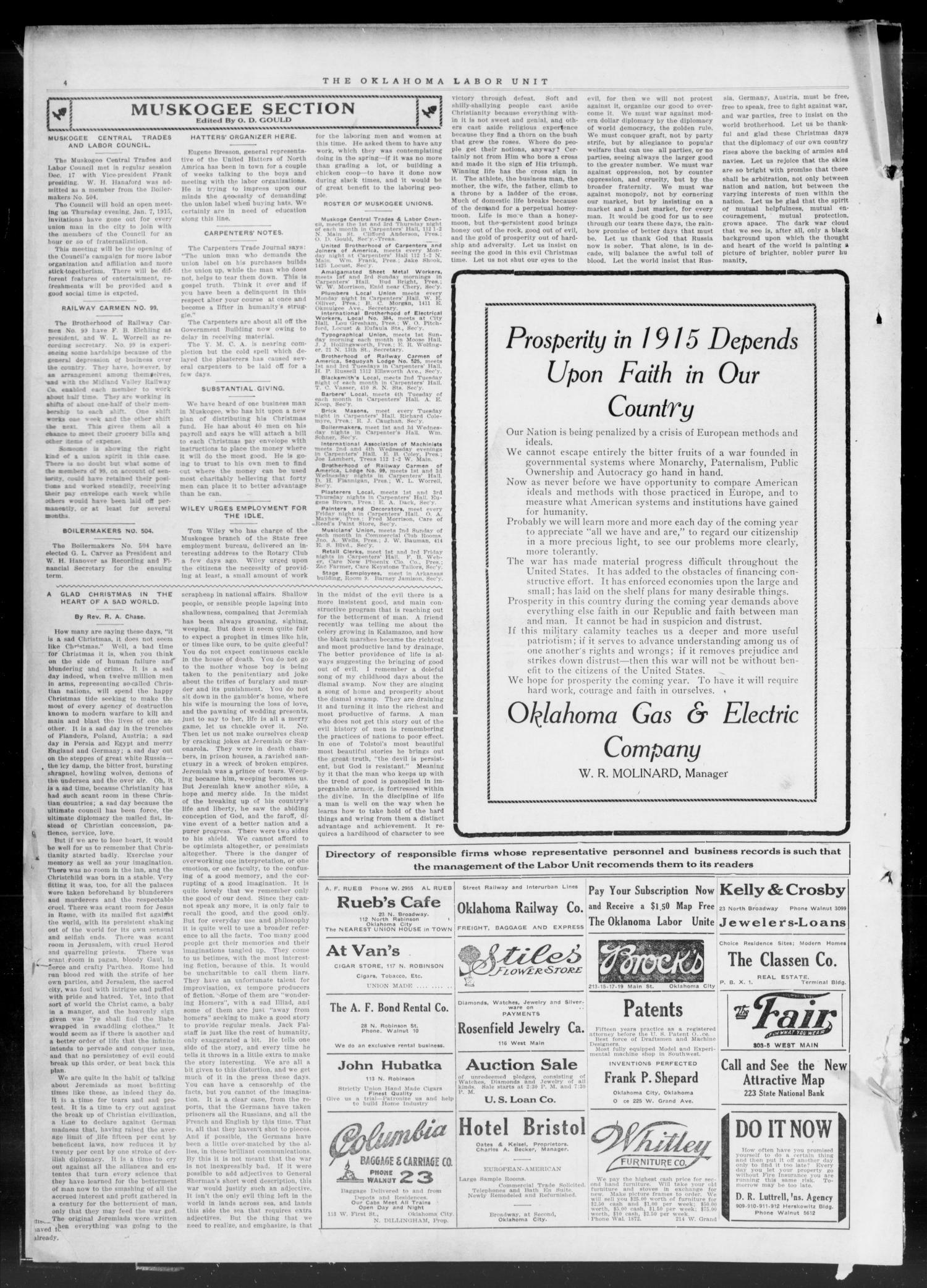 The Oklahoma Labor Unit (Oklahoma City, Okla.), Vol. 7, No. 27, Ed. 1 Saturday, December 26, 1914                                                                                                      [Sequence #]: 4 of 4