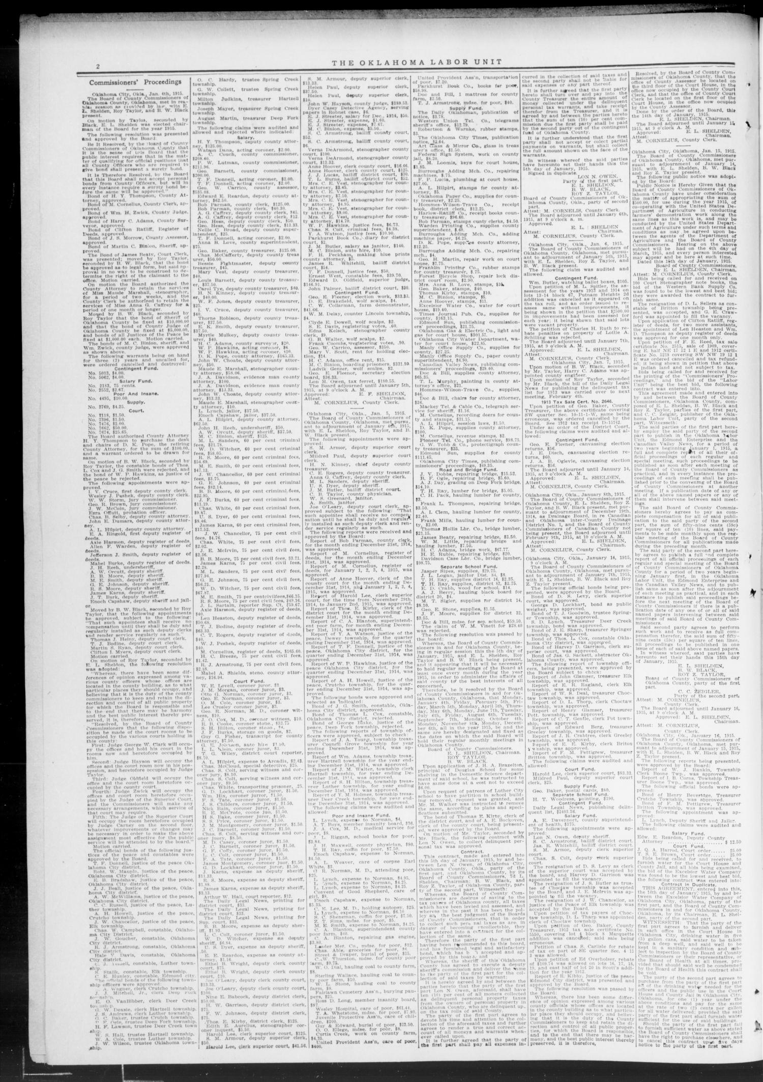 The Oklahoma Labor Unit (Oklahoma City, Okla.), Vol. 7, No. 32, Ed. 1 Saturday, January 30, 1915                                                                                                      [Sequence #]: 2 of 8
