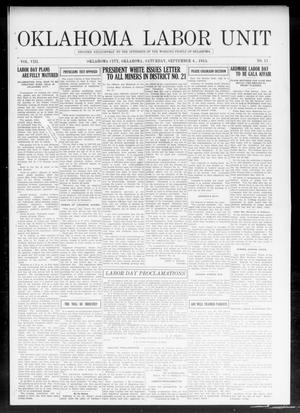 Primary view of object titled 'Oklahoma Labor Unit (Oklahoma City, Okla.), Vol. 8, No. 11, Ed. 1 Saturday, September 4, 1915'.