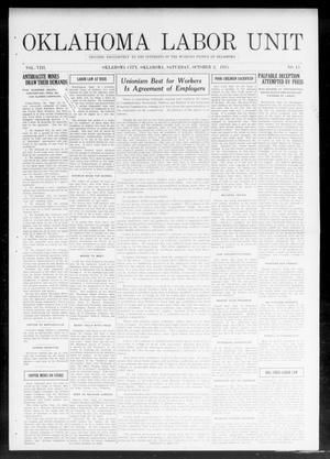 Primary view of object titled 'Oklahoma Labor Unit (Oklahoma City, Okla.), Vol. 8, No. 15, Ed. 1 Saturday, October 2, 1915'.
