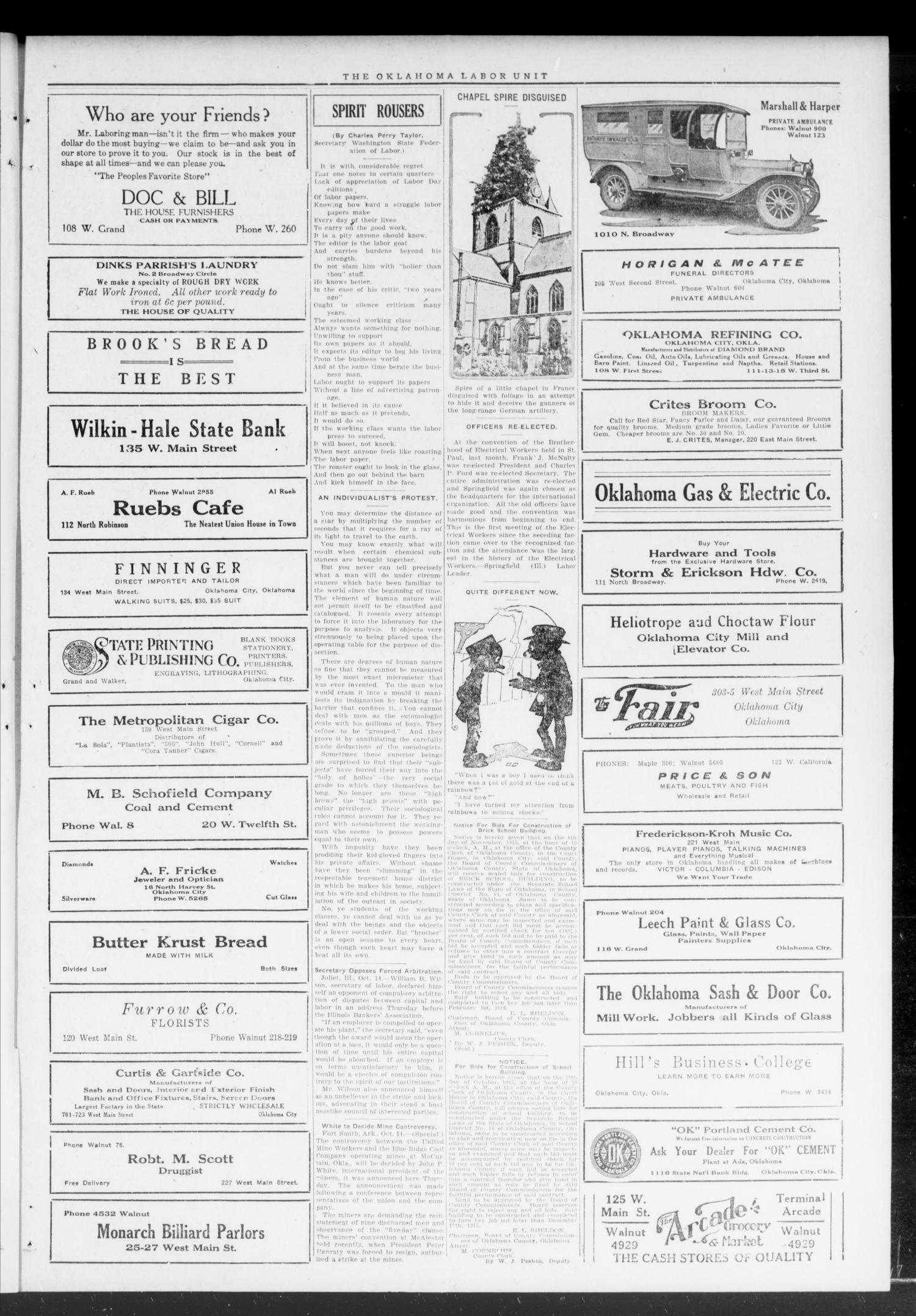 Oklahoma Labor Unit (Oklahoma City, Okla.), Vol. 8, No. 18, Ed. 1 Saturday, October 23, 1915                                                                                                      [Sequence #]: 3 of 4