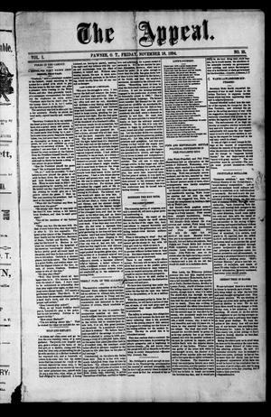Primary view of The Appeal. (Pawnee, Okla. Terr.), Vol. 1, No. 25, Ed. 1 Friday, November 16, 1894