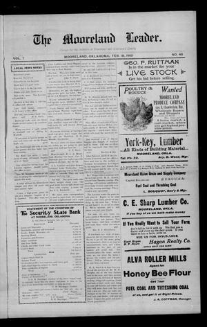 Primary view of The Mooreland Leader. (Mooreland, Okla.), Vol. 7, No. 46, Ed. 1 Friday, February 18, 1910