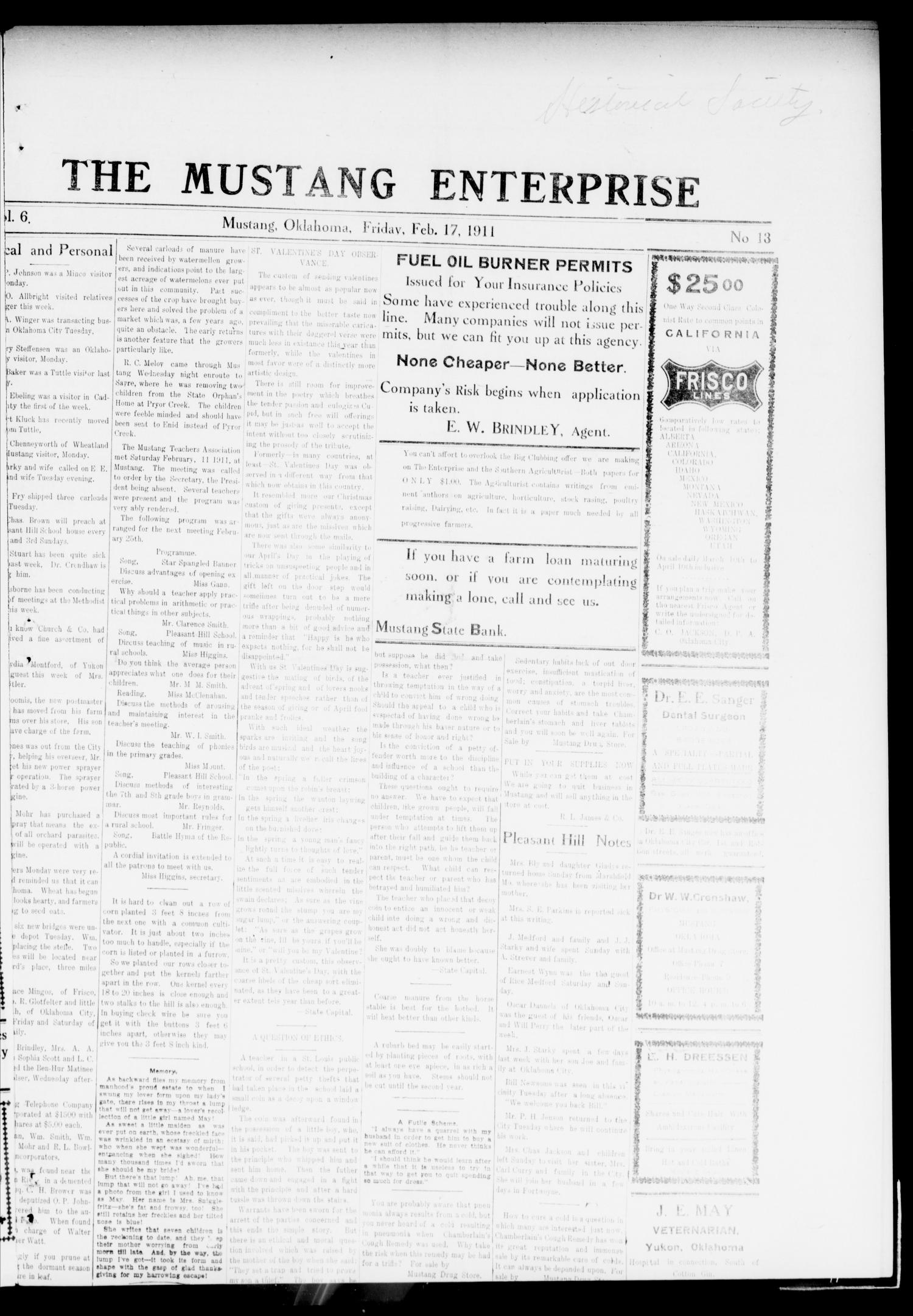 The Mustang Enterprise (Mustang, Okla.), Vol. 6, No. 13, Ed. 1 Friday, February 17, 1911                                                                                                      [Sequence #]: 1 of 6