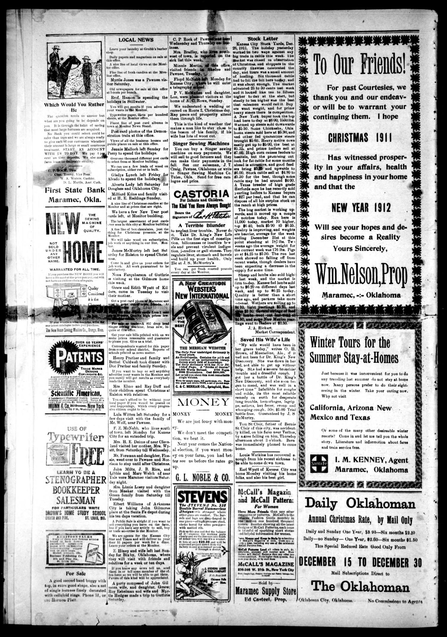 Maramec Weekly Monitor. (Maramec, Okla.), Vol. 9, No. 18, Ed. 1 Friday, December 29, 1911                                                                                                      [Sequence #]: 4 of 4