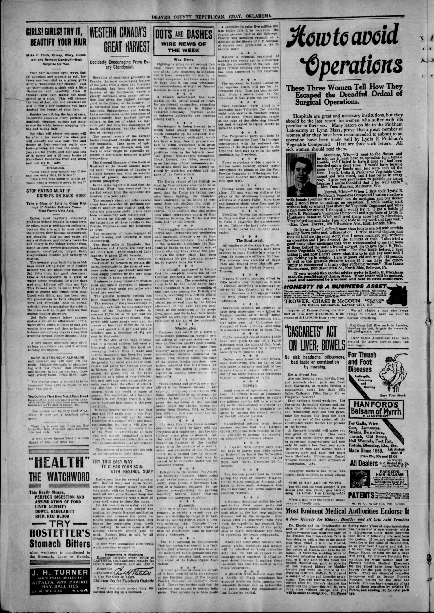 Beaver County Republican. (Gray, Okla.), Vol. 11, No. 1, Ed. 1 Friday, January 21, 1916                                                                                                      [Sequence #]: 2 of 4