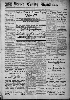 Primary view of Beaver County Republican. (Gray, Okla.), Vol. 12, No. 4, Ed. 1 Friday, February 9, 1917