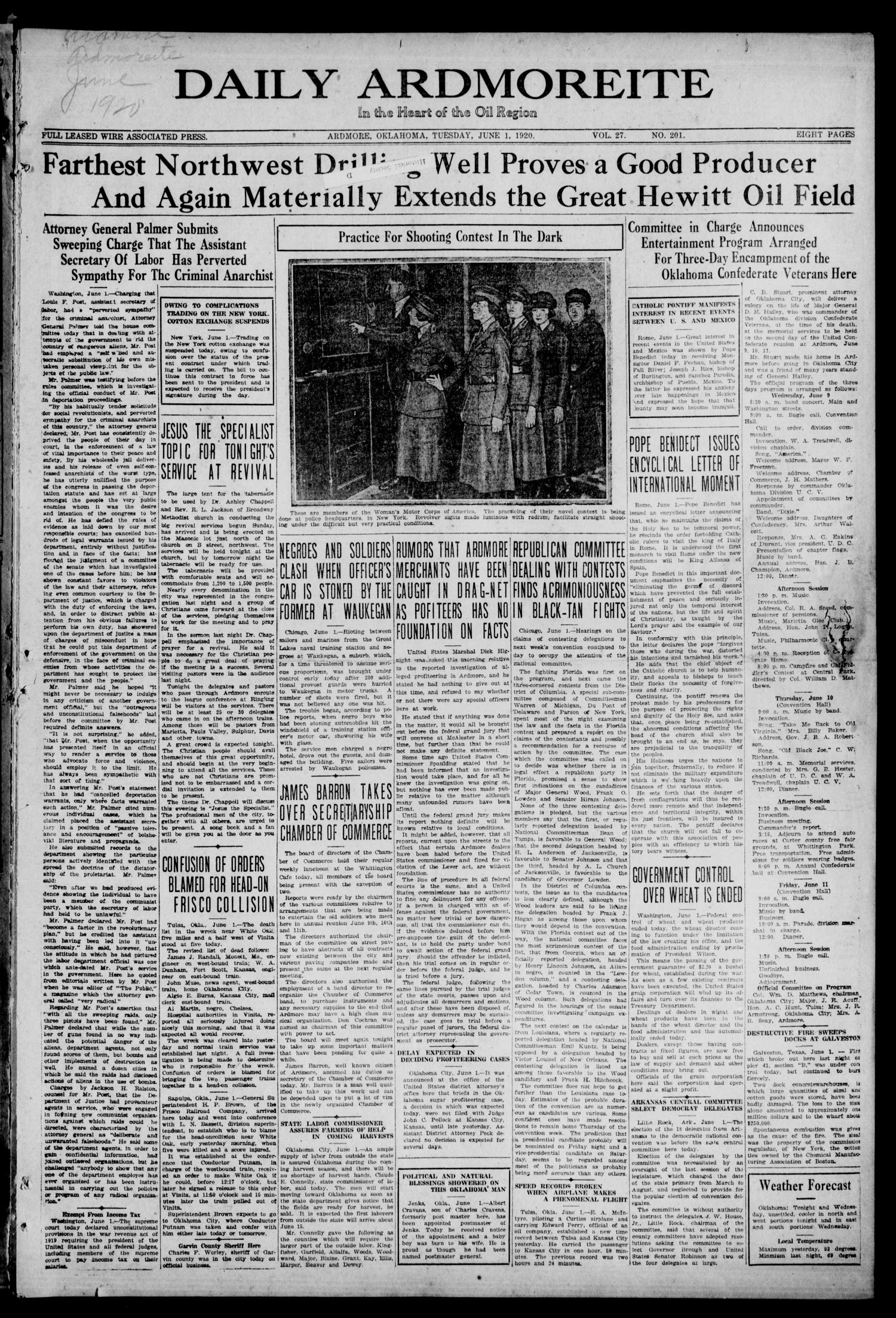 Daily Ardmoreite (Ardmore, Okla.), Vol. 27, No. 201, Ed. 1 Tuesday, June 1, 1920                                                                                                      [Sequence #]: 1 of 8