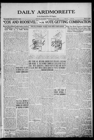 Primary view of Daily Ardmoreite (Ardmore, Okla.), Vol. 27, No. 232, Ed. 1 Wednesday, July 7, 1920