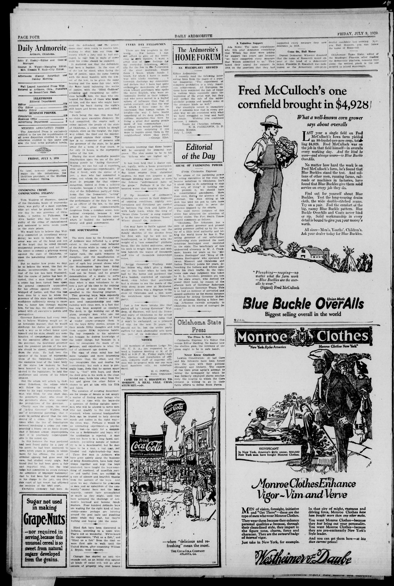 Daily Ardmoreite (Ardmore, Okla.), Vol. 27, No. 234, Ed. 1 Friday, July 9, 1920                                                                                                      [Sequence #]: 4 of 8