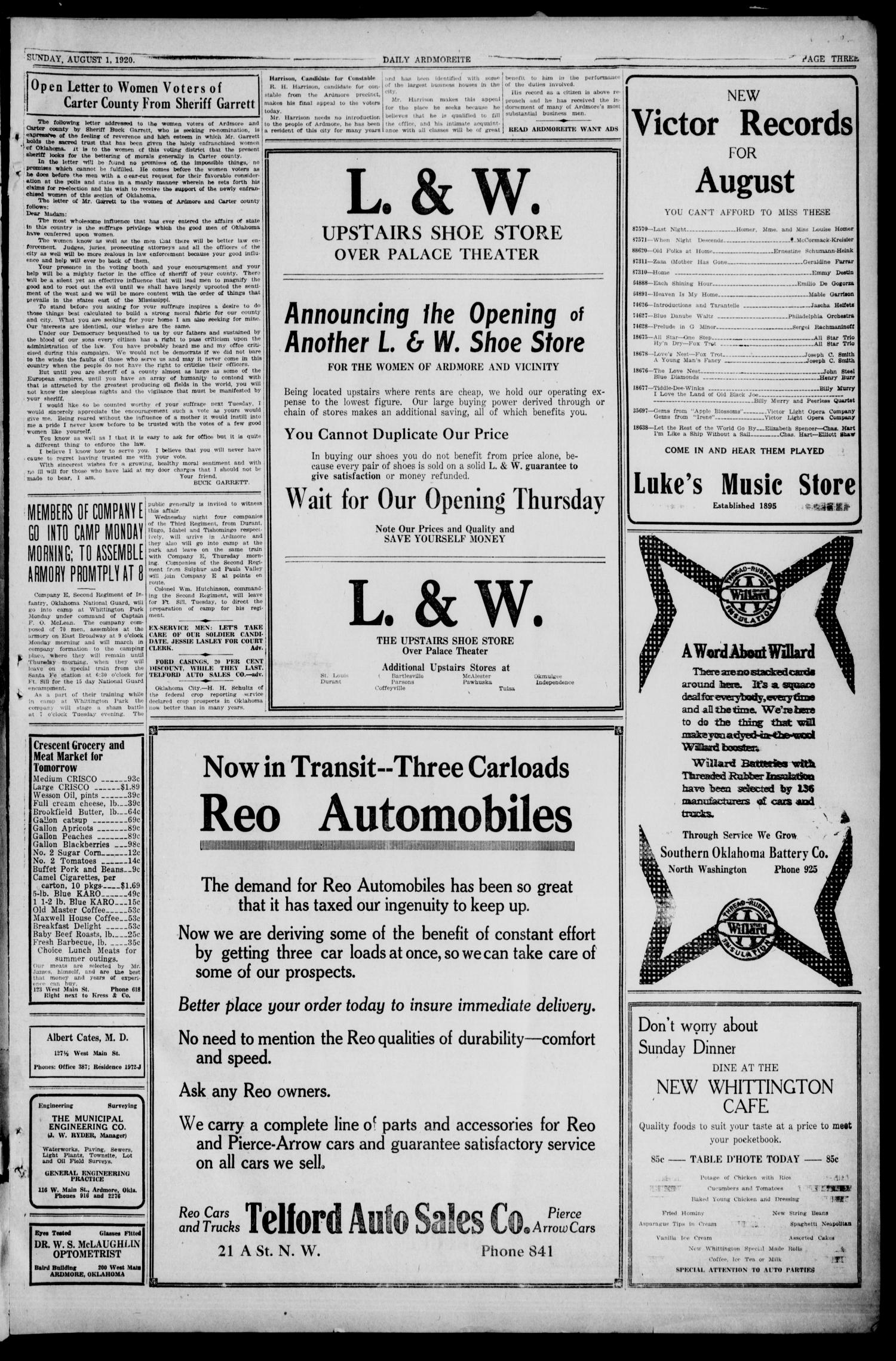 Daily Ardmoreite (Ardmore, Okla.), Vol. 27, No. 253, Ed. 1 Sunday, August 1, 1920                                                                                                      [Sequence #]: 3 of 20