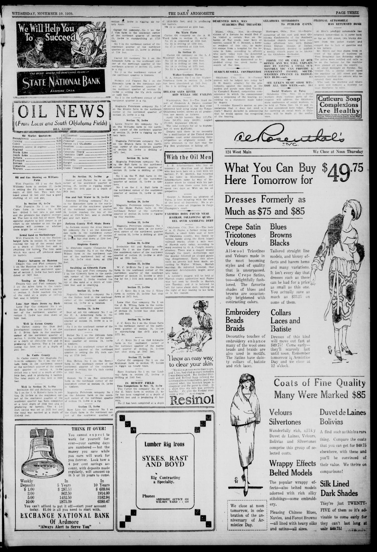 Daily Ardmoreite (Ardmore, Okla.), Vol. 28, No. 29, Ed. 1 Wednesday, November 10, 1920                                                                                                      [Sequence #]: 3 of 8