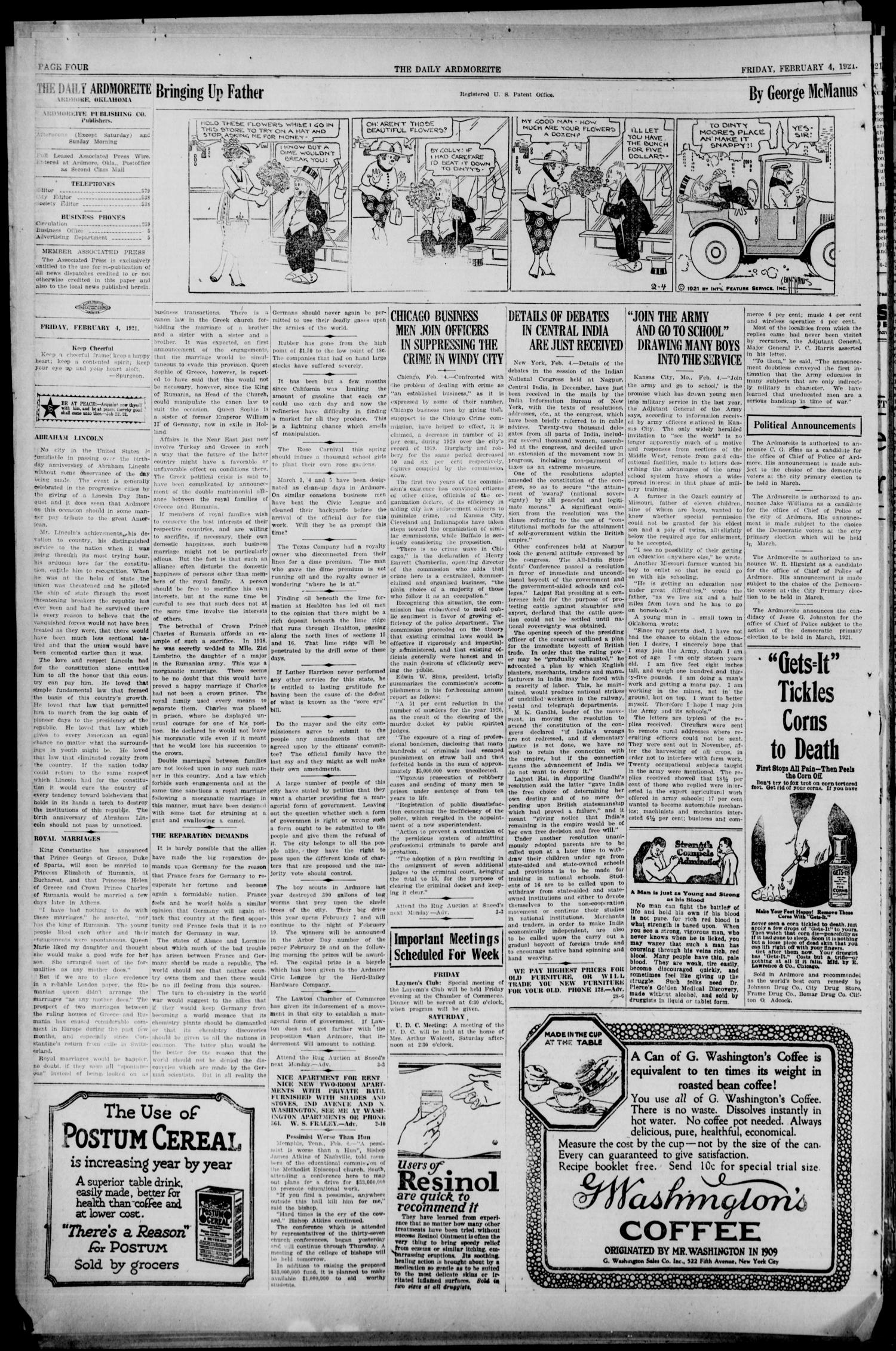 Daily Ardmoreite (Ardmore, Okla.), Vol. 28, No. 98, Ed. 1 Friday, February 4, 1921                                                                                                      [Sequence #]: 4 of 8