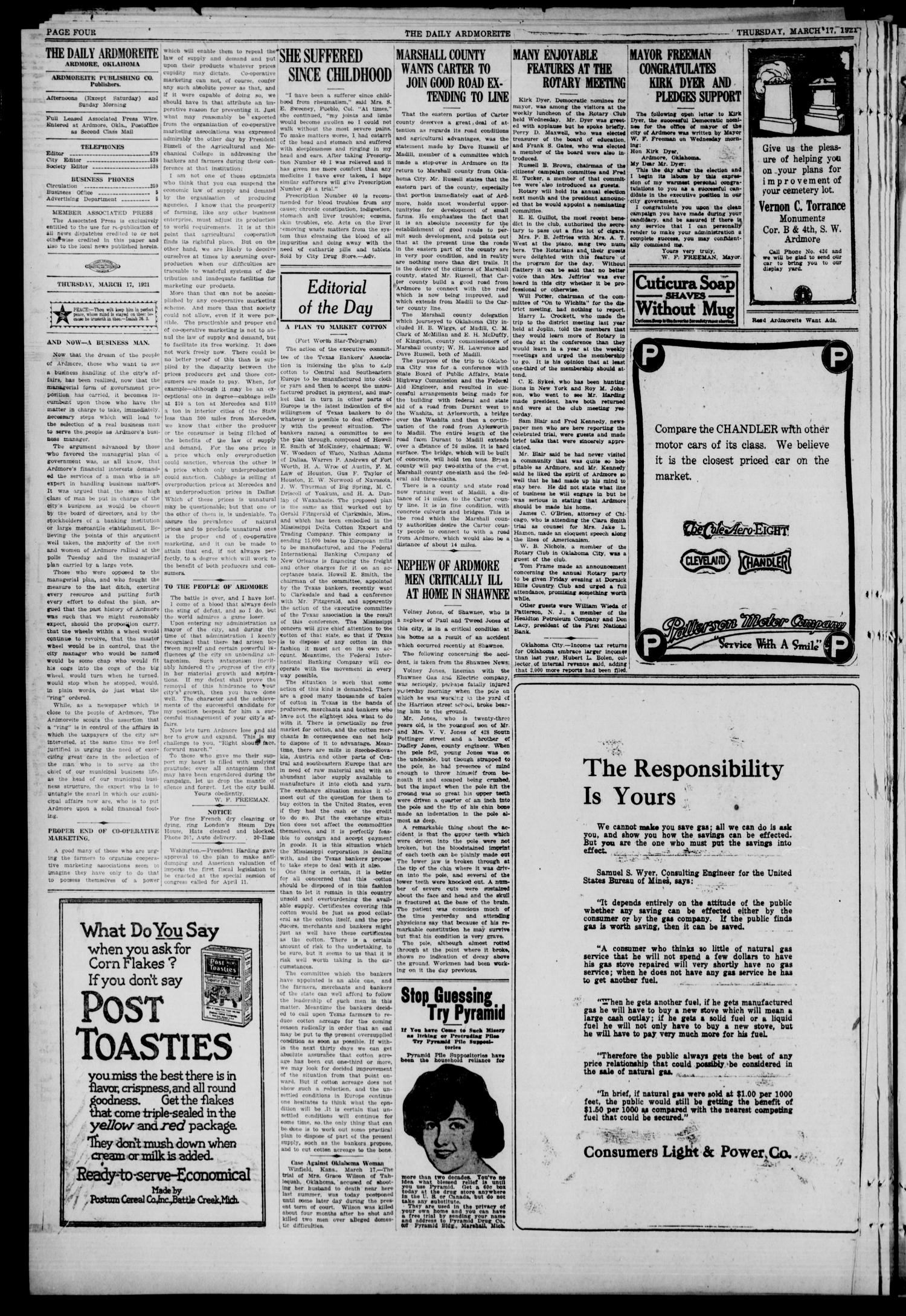 Daily Ardmoreite (Ardmore, Okla.), Vol. 28, No. 133, Ed. 1 Thursday, March 17, 1921                                                                                                      [Sequence #]: 4 of 10