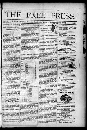 Primary view of The Free Press. (Ralston, Okla.), Vol. 3, No. 12, Ed. 1 Friday, September 12, 1902